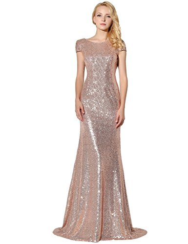 Belle House Woman's Sequined Formal Party Dresses Full Length Bridal Gowns (Full Length Beaded Gown)