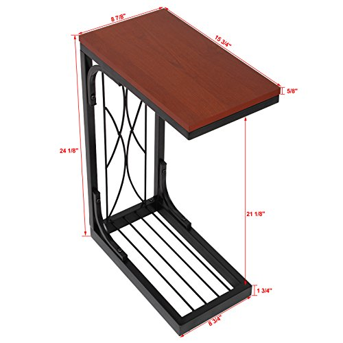 Songmics Snack Table Heavy Duty Sofa Side Table For Living Room With Brown Wooden Top Ulnt40z