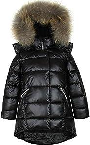 Deux par Deux Girls' Puffer Coat Real Fur in Black, Sizes