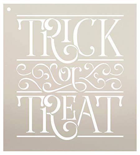 Trick Or Treat with Scrollwork Stencil by StudioR12 | Reusable Mylar Template | Use to Paint Wood Signs - Pallets - Walls - DIY Halloween Decor - Select Size (12