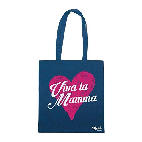 Borsa VIVA LA MAMMA LOVE - Blu navy - DIVERTENTE by Mush Dress Your Style