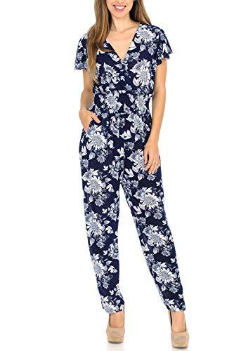 Auliné Collection Womens Short Cap Sleeve V-Neck Long Pants Romper Jumpsuit - Camelia Bloom Floral L/XL