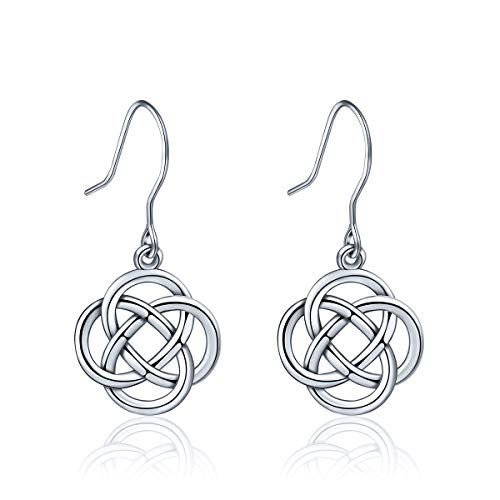 (INFUSEU 925 Sterling Silver Irish Celtic Knot Drop Dangle Hook Earrings for Women (Eternity Flower))