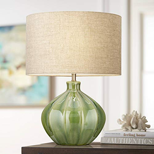 - Gordy Green Ribbed Ceramic Table Lamp - 360 Lighting