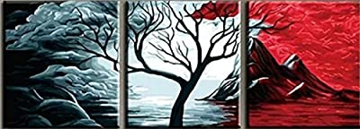 Pach of 3[WOODEN FRAME]Diy Oil Painting Paint By Number Kit-The Volcano 24x24 Inch