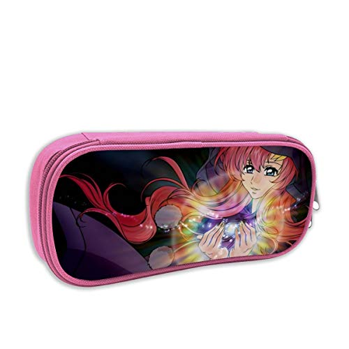 Gundam Seed-Lacus Anime Pen Bag Pencil Case Student Stationery Pouch Bag Office Storage Organizer Coin Pouch Cosmetic Bag(8.25 X 3.53 X 1.96 Inches) Pink