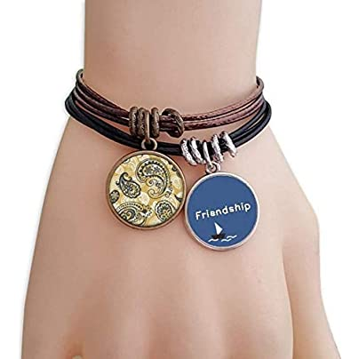 YMNW Printing Repeat Cloth Khaki Colorful Art Friendship Bracelet Leather Rope Wristband Couple Set Estimated Price -