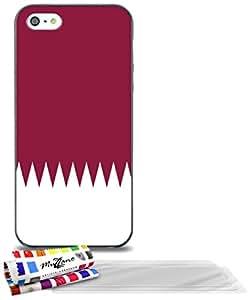 """Carcasa Flexible Ultra-Slim APPLE IPHONE 5 de exclusivo motivo [Bandera Katar] [Negra] de MUZZANO  + 3 Pelliculas de Pantalla """"UltraClear"""" + ESTILETE y PAÑO MUZZANO REGALADOS - La Protección Antigolpes ULTIMA, ELEGANTE Y DURADERA para su APPLE IPHONE 5"""