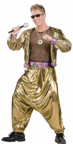 80s Halloween Costumes Guys (Men's 80's Video Superstar Costume, Gold, One)