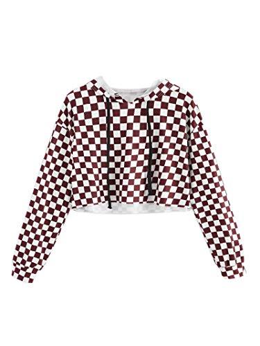 KunLunMen Kids Crop Tops Girls Sweatshirts Long Sleeve Plaid Hoodies by KunLunMen