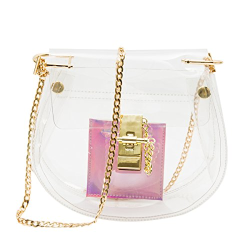 Zarapack bolsa transparente de PVC transparente de la mujer embrague con interior holograma bolsa crossbody hombro Monedero, estilo 2 (transparente) - BA922 estilo 2