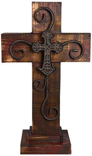 LL Home Standing Maroon Wood Cross (Metal Cross Rustic)