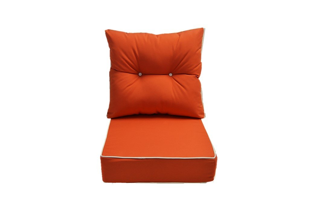 Sunbrella Canvas Melon / Coral Cushion w/ White Cording / Pipping - Seat and Back Cushion for Deep Seating Chair - Choose Size (24w X 24d)