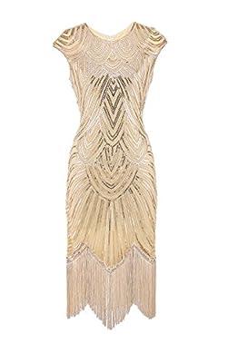 sekitoba-japan.inc 1920s Gatsby Inspired Flapper Dress for Women Bodycon Sequin