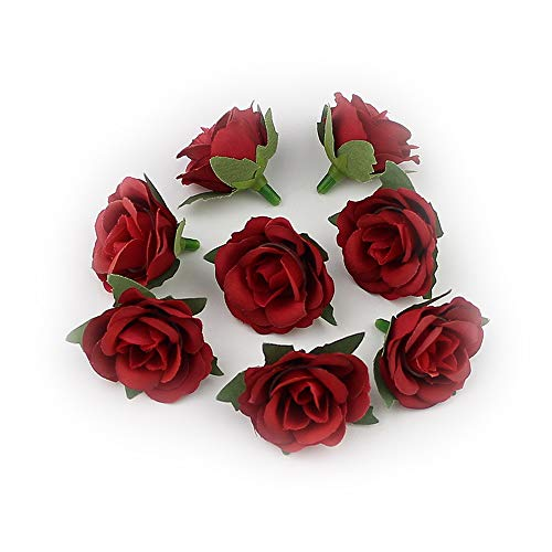 Fake Flowers Heads in Bulk Wholesale for Crafts Silk Artificial Flowers Heads Mini Rose Flower Heads for Party Festival Home Decor Wedding Decoration Ball Craft 30pieces/lot 3cm (Burgundy)