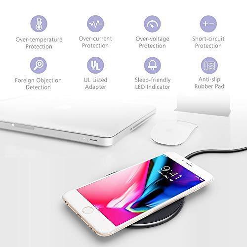 UGpine Wireless Charger,Qi-Certified Protable Wireless Charging Pad for Samsung Galaxy Note 10/Note 10+/Note 9/Fold/S10e/S10+/S10/S9/S8 & Apple iPhone ...