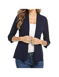 TIMEMEANS Women Mini Suit Casual 3/4 Sleeve Open Front Work Office Blazer Jacket Cardigan