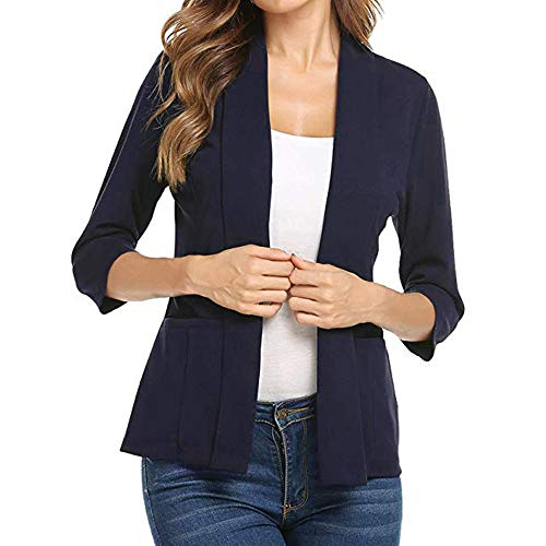 UONQD Women Mini Suit 3/4 Sleeve Open Front Work Office Blazer Jacket Cardigan (X-Large,Navy)