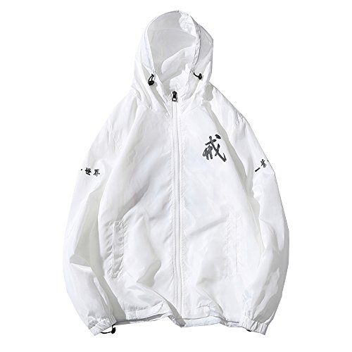 Allonly Men's Fashion Dragon ToTem Hoodie Zip-up Chinese Letter Windbreaker Jacket (US X-Large (Tag 3XL), White B)