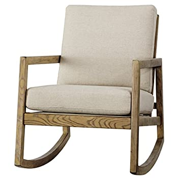Ashley Furniture Signature Design - Novelda Rocking Accent Chair - Neutral Tan - Faux Wood Finish