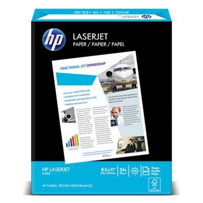 LaserJet Paper, Ultra White, 97 Bright, 24lb, Letter, 2500 Sheets/Carton, Sold as 5 Ream