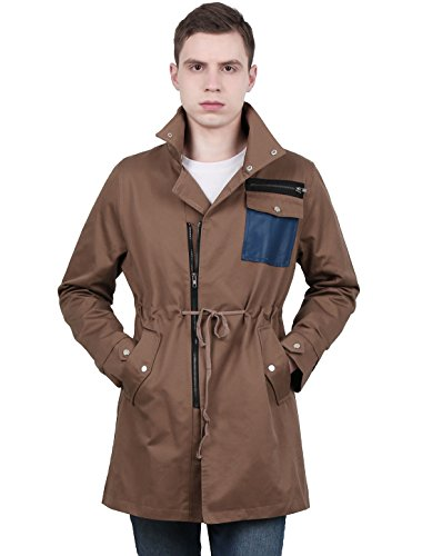 uxcell Men Two Snap Button Up Collar Drawstring Waist Long Sleeve Windbreaker Jacket Coffee XL (US 46)