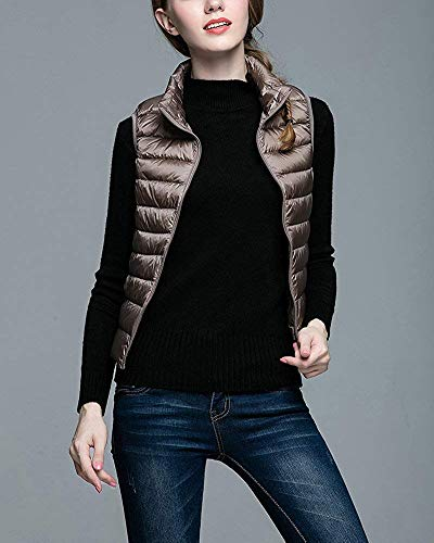 Léger Vineux Taille Femmes coloré Pour Ultra Marron Rouge Oudan Puffer Jacket Gilet Coat L gTxvXqP