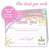 Unicorn thank you cards - Set of 20 - Girl Birthday Party - Baby Shower