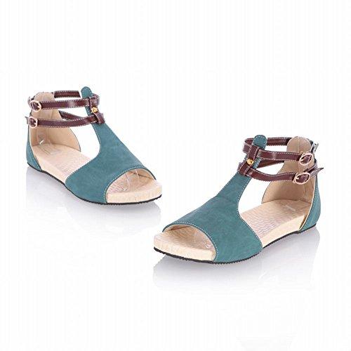 Carolbar Womens Multi Buckle Comfort T-Strap Cute Flats Sandals Blue eaC2yfY