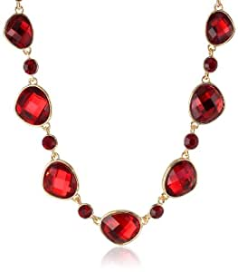 "Napier ""Galatic Night"" Gold-Tone and Red Collar Necklace, 19"""