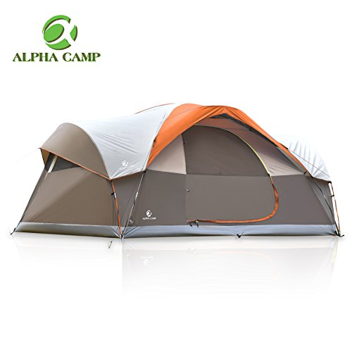 ALPHA CAMP Dome Family Camping Tent 8 Person – Orange 17′ x 10′