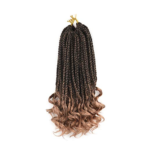 Refined Hair 6Packs 14Inch 3S Wavy Box Braids Crochet Braid Hair Extensions 22roots Ombre Kanekalon Synthetic Goddess Box Braids With Wavy Free End Crochet Braids (14inch, T27)