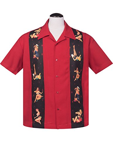 [Steady Multi Pinup Girls Panel Button Up in Red Bowling Shirt (XL)] (Rockabilly Retro Shirt)