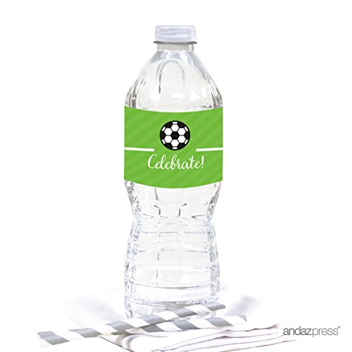 Soccer Labels - Andaz Press Birthday Water Bottle Labels Stickers, Soccer, 20-Pack, For Decor Decorations Dessert Table Wraps