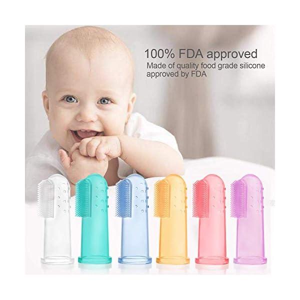 6 PCS Cepillo Dientes Bebe, bebé cepillo de dientes de los niños de silicona, Con Caja Cepillo Dedo Bebe Para, Seguro e… 2