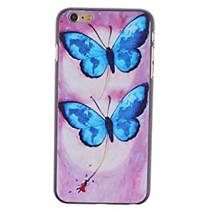 TOPMM Two Blue Butterfly Pattern PC Hard Cover for iPhone 6 Plus