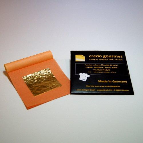 Feines essbares Blattgold 23 Karat - 50 x 50 mm 100 % Deutsche Qualität Menge 10 Blatt