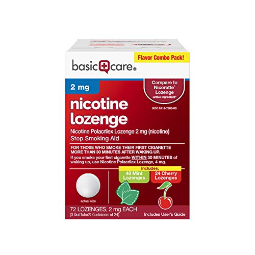 Basic Care Nicotine Lozenge, 2 mg, Mint and Cherry Flavors, 72 Count