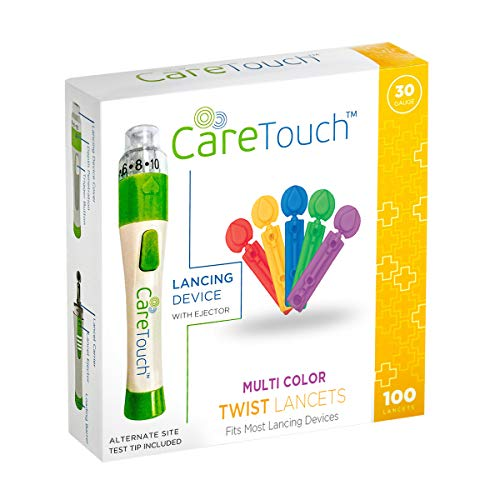 Care Touch Adjustable Lancing Device with 100 Multi Colored Twist Top Lancets | 100 30-Gauge Lancets and Lancing Device | 10 Depths