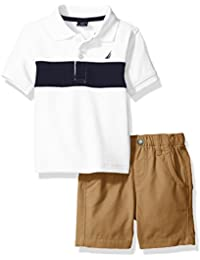Nautica Boys' Short Sleeve Stripe Polo with Pull on Short Set