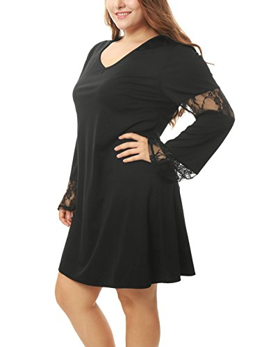 Agnes Orinda Women Plus Size V Neck Lace Insert Bell Sleeves Tunic Dress Black 3X