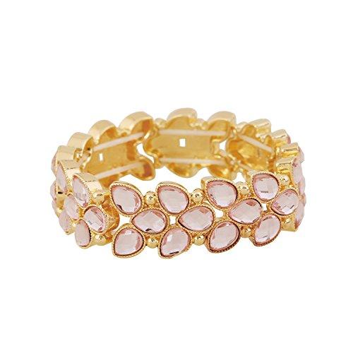 D EXCEED Women's Fashion Resin Stone Bracelet Gift Idea Trendy Cute Leaf Shaped Bangle Bracelet Crystal Stretch Bracelet for Women 7