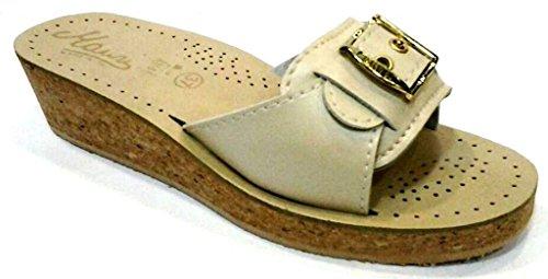 MAURI - Zapatillas de estar por casa de piel sintética para mujer beige arena 39