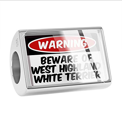 (NEONBLOND Charm Beware of The West Highland White Terrier Dog from Scotland 925 Sterling Silver Bead)