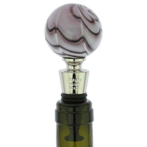 Murano Bottles Glass (GlassOfVenice Murano Glass Bottle Stopper - Festooned Purple)