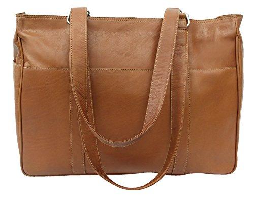 Piel Leather Medium Shopping Bag in Saddle