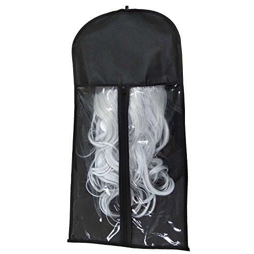 Xingoukeji Dustproof Wig Storage Bag Hair Extension Holder Hair Hanger with Zipper, Black by xingoukeji (Image #1)