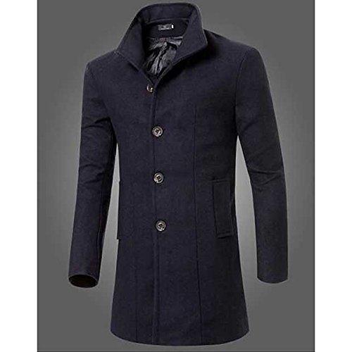 Lemumu Men& 039;s Casual Täglich Einfache Herbst Winter Mantel, solide erreichte Revers Langarm lange Andere