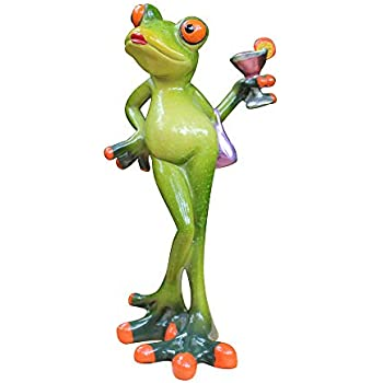 L.DONG 3D Creative Frog Decor, Lady Frog Figurine Holding a Cocktail, Novelty Animal Frog Statue Resin Ornament for Home Office Desk Decoration