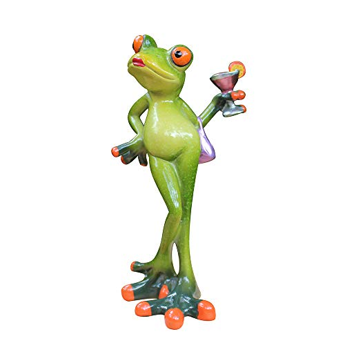 (L.DONG 3D Creative Frog Decor, Lady Frog Figurine Holding a Cocktail, Novelty Animal Frog Statue Resin Ornament for Home Office Desk Decoration)